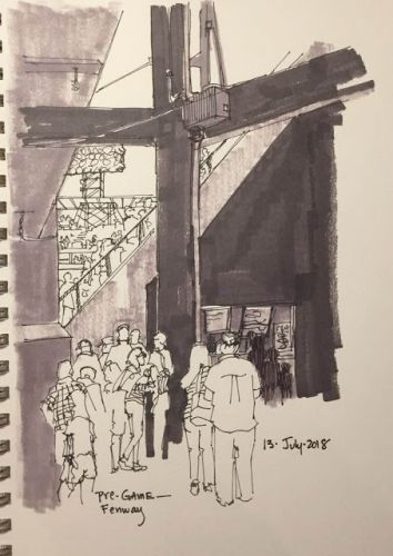 """Day 277 """"Pre-Game Fenway"""" 12 x 9 pen, ink, marker"""