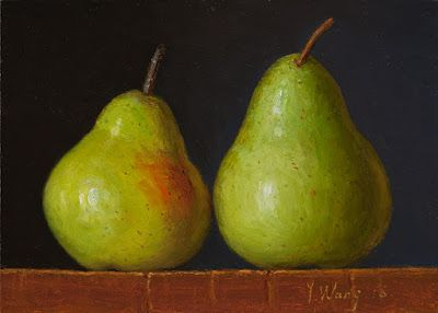 Two pears still life small original daily painting a day