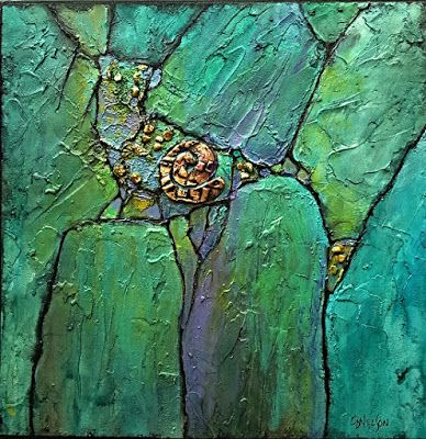 "Geologic Abstract Mixed Media Painting ""Phoenix Demo I"" by Colorado Artist Carol Nelson"