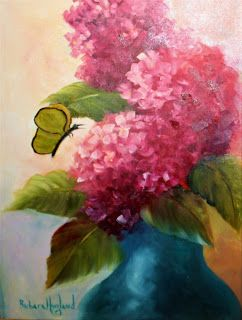 Pink Hydrangeas with Butterfly,oils canvas,Barbara Haviland,Texas Floral Artist
