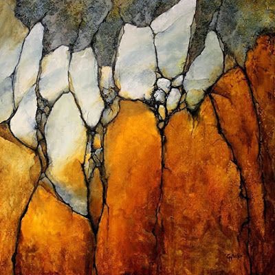 "Geological Abstract Fine Art Print""Marble Palisade"" by Colorado Mixed Media Abstract Artist Carol Nelson"
