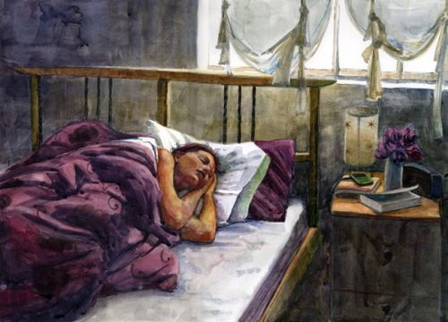 Watercolor: Saturday Morning Sleep-In