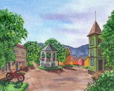 Norway Little Town Mo i Rana Watercolor Painting