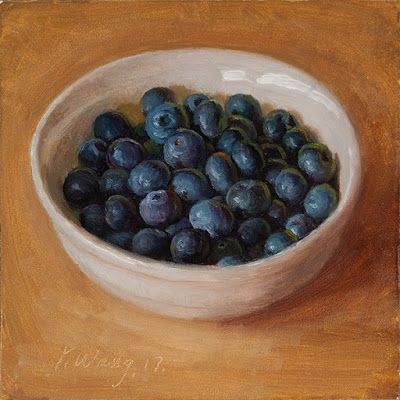 Blueberries in a bowl still life oil painting small work of art original