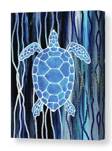 Watercolor Sea Turtle On Abstract Blue Waves