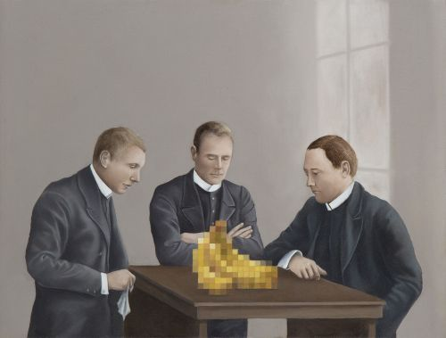 Pixelated Glitches Interrupt Painted Portraits of Victorian Families, Still Lifes, and Birds