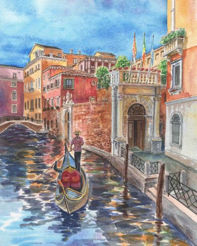 Watercolor Of Venice Canal And Gondolier Painting