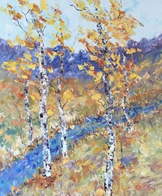 """Palette Knife Aspen Tree Colorado Landscape Painting """"Along The Stream"""" by Colorado Impressionist Judith Babcock"""
