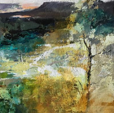 "Contemporary Abstract Landscape Painting ""Distant View"" by Intuitive Artist Joan Fullerton"