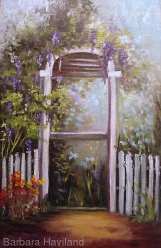 Wisteria Arbor,oils on canvas panel, Barbara Haviland-Texas Artist