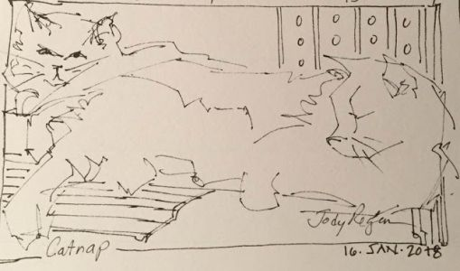 """Day 106 """"Catnap"""" pen&ink 2 x 4"""