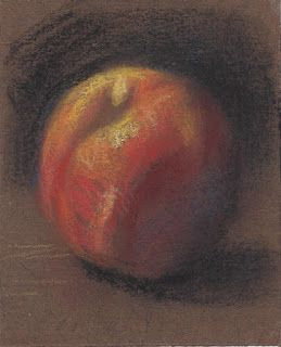 """Yellow peach"" miniature still life drawing"