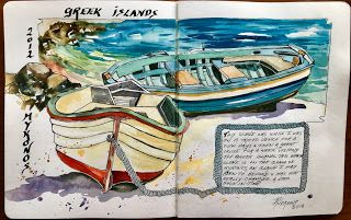 Journal Entry..Greek Islands..Watercolor..Texas Artist..Rae Andrews