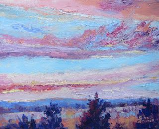 Tree Top Sunrise, New Contemporary Landscape Painting by Sheri Jones