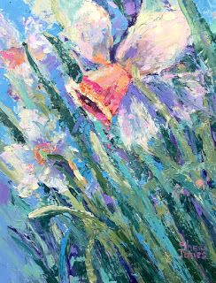 Impressionistic Floral Palette Knife Oil Painting by Contemporary Artist Sheri Jones