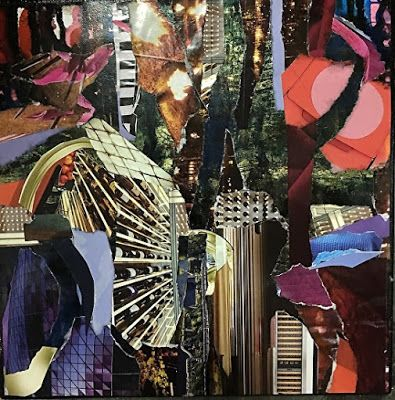 "Contemporary Abstract Art Painting, Mixed Media Collage ""Bright Lights, Big City"" by New Orleans Artist Lou Jordan"