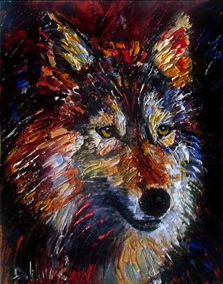 "Wolf Wild Animal Art Original Oil Painting, Animal Paintings, Fine Art ""Survival"" by Debra Hurd"