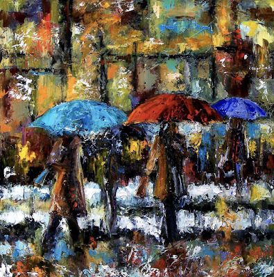 "Street Scene, Cityscape, Rainy City, Fine Art Oil Painting, Umbrellas ""Wet Winter Day"" Texas Artist, Debra Hurd"