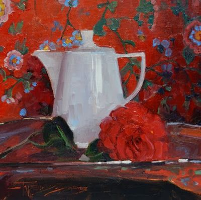 """Red on Red"" Still life painting by Robin Weiss"