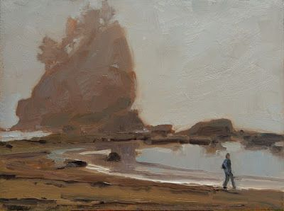 """Ship Wreck Rock"" Paint the Peninsula 2018 plein air landscape painting by Robin Weiss"
