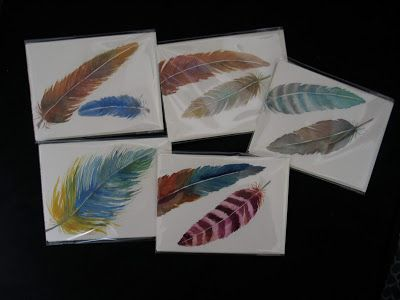 Watercolor Notes- Feathers