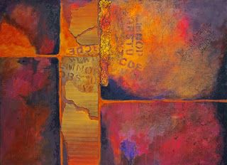 "SUMMER SALE - Mixed Media Abstract Painting, ""Ticket to Ride"" © Carol Nelson Fine Art"