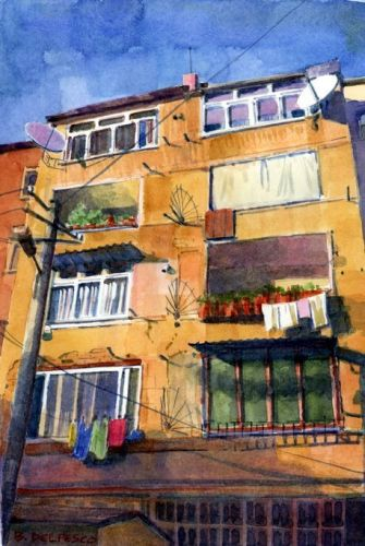 Architectural Watercolor: Albanian Apartment Building