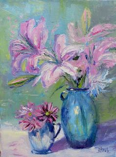 Pink Posies, New Contemporary Still Life Painting by Sheri Jones