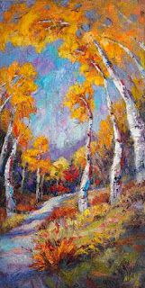 New Fall Aspen Painting by Palette Knife Artist Niki Gulley