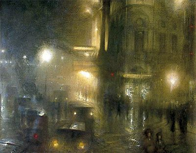 Arthur Hacker, Flare and Flutter: Piccadilly Circus at Night