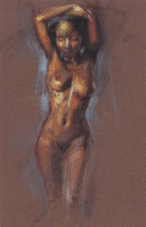 """Vase pose"" standing female nude"