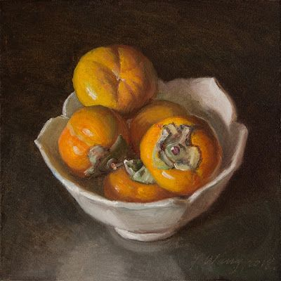 Persimmons still life oil painting daily painting a day