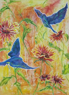 """Blue Birds in Paradise"" Large original abstract bird blanketflower oil painting on canvas wrap"