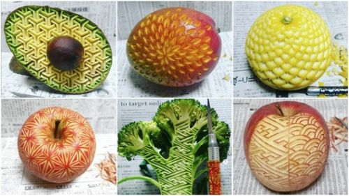 "This ""Human Laser Cutter"" Precisely Models Fruits With Amazing Geometric Designs"