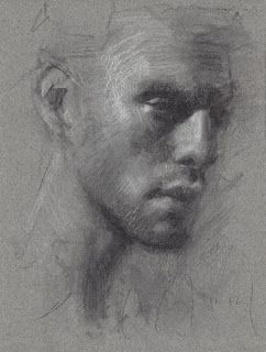 Male portrait charcoal drawing
