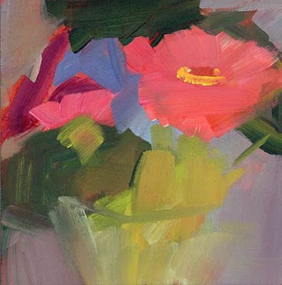 3629 Friday's painting - Umbrellas and potted plants