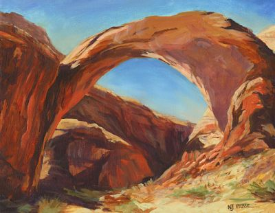 "Western Landscape,Arches Over Lake Powell ""Rainbow Arch"" by Colorado Artist Nancee Jean Busse Painter of the American West"