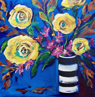 "Expressive Still Live Floral Painting, Colorful Original Flower Art, ""FAVORITE FALL COLORS"" by Texas Contemporary Artist Jill Haglund"
