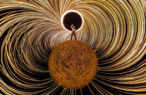 This is a Steel Wool Photo Shot with a 360-Degree Camera
