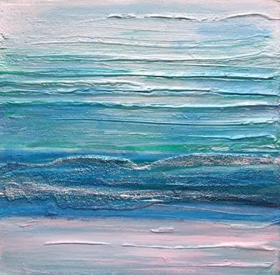 "Mixed Media Abstract Seascape Painting ""ILLUMINATED SURF II"" by California Artist Cecelia Catherine Rappaport"