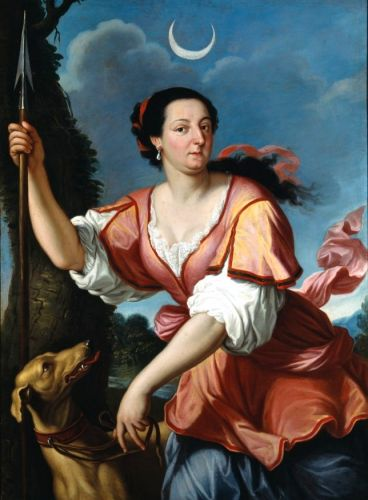 1640 Allegory of Diana Goddess of the Hunt with faithful Dogs
