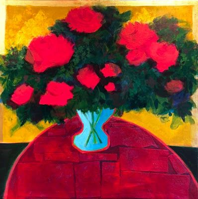 "Contemporary Expressionist Still Life Art Painting ""Roses for You"" by Santa Fe Artist Annie O'Brien Gonzales"