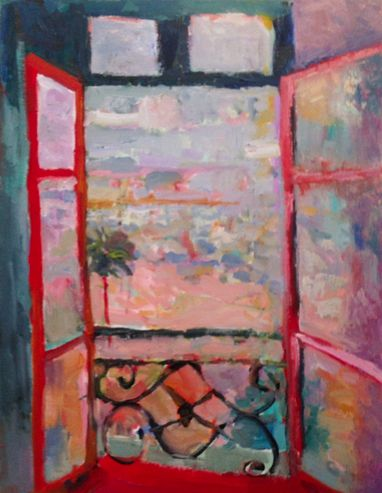 "Contemporary Abstract Landscape Painting ""Henri's Window"" by Santa Fe Artist Annie O'Brien Gonzales"