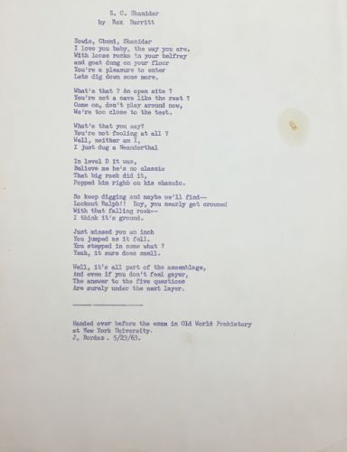 Collection in Process: A Poem from the Ralph and Rose Solecki Papers