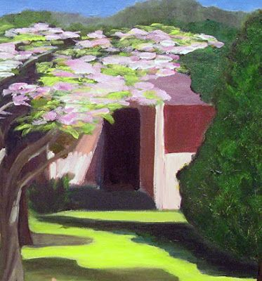 "Landscape,Cottage Painting ""Cottage in Chilmark"" by California Artist Cecelia Catherine Rappaport"