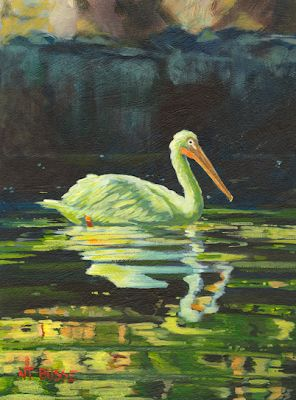"Original Wildlife, Bird, Swan Painting ""CHARTREUSE PELICAN ""by Colorado Artist Nancee Jean Busse,Painter of the American West"