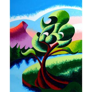Mark Webster - Abstract Geometric Landscape Oil Painting 2012-04-05