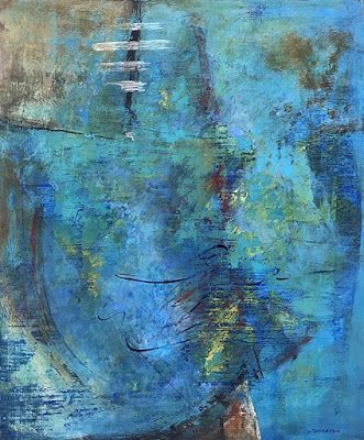 """Blue Art, Contemporary Art, Abstract Painting, Expressionism, Mixed Media, """"MAPPING THE UNKNOWN"""" by Contemporary Artist Liz Thoresen"""