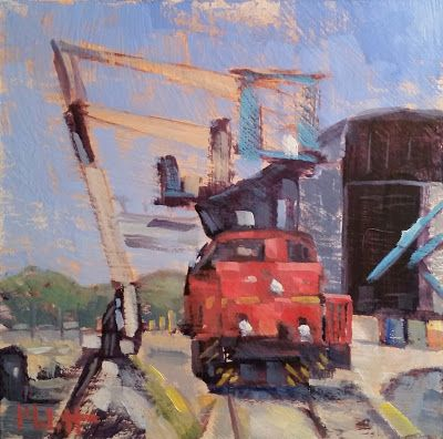 Industrial Landscape Shipping Yard Original Artwork Heidi Malott