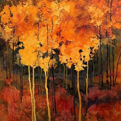 "Fine Art Print, Tree Art , Abstract Landscape ""Good Fortune"" by Colorado Mixed Media Abstract Artist Carol Nelson"